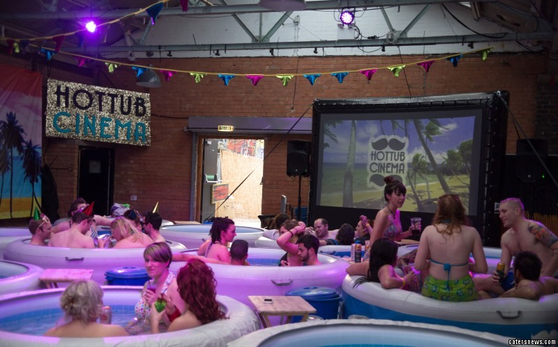 Movie-goers can sit back in a hot tub to enjoy their favourite films