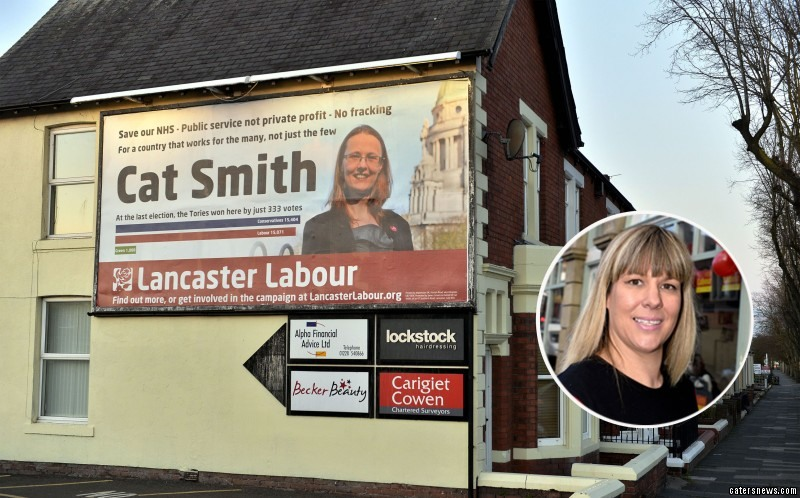 The billboard encourages people to vote for Cat Smith, not Lee Sherriff, the actual candidate for Carlisle