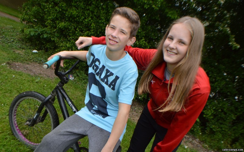 The 15-year-old was out cycling when she saw friend Liam Smith fly over his handlebars and smash his face