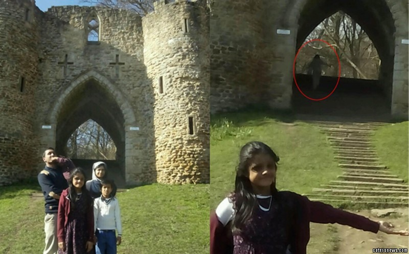 The Islam family holiday photo has turned into a something sinister after what looks like a ghost appeared in the background