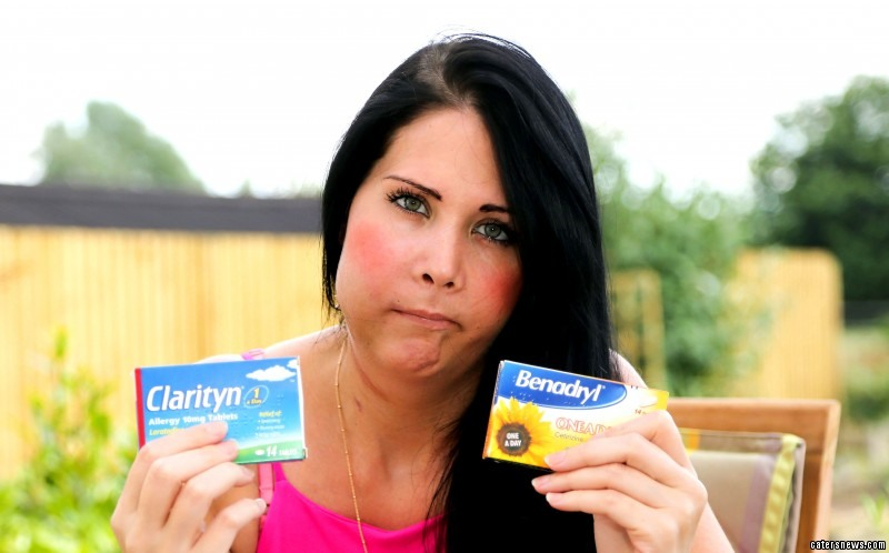Jannine after the operation with her hayfever tablets after she was misdiagnosed with hayfever and not cancer