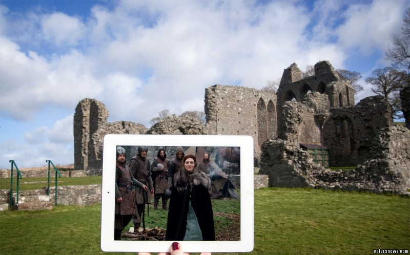 A scene from the TV show Game of Thrones, and its location in real life Inch Abbey, Downpatrick, Northern Ireland