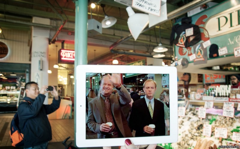 A scene from the TV show Frasier, and its location in real life Pike Place Market, Seattle, Washington