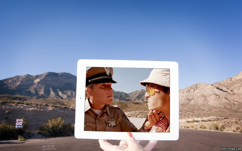 A scene from the film Fear and Loathing in Las Vegas, and its location in real life Red Rock Canyon, Las Vegas, Nevada