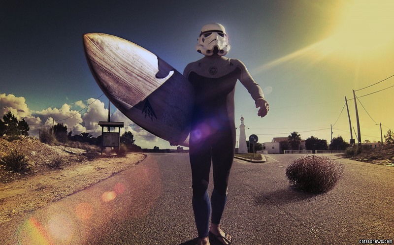 Andre Price packed in his job to travel the world as a surfing Stormtrooper