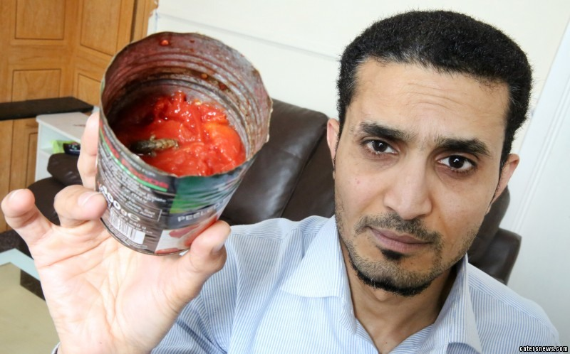 Sanam Hussain was horrified after finding a dead lizard floating in a can of tomatoes