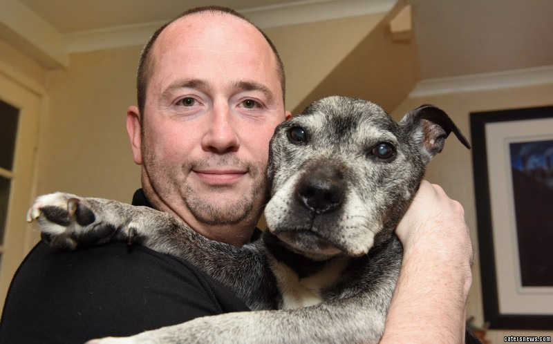 The 15-year-old Staffie is doted on by his devoted owner Sean Farrell