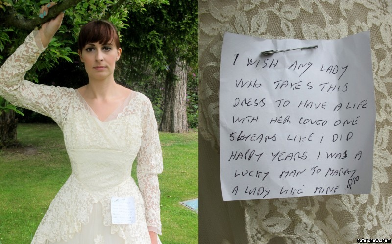 Staff at the charity shop noticed the penned note attached to the dress with a safety pin