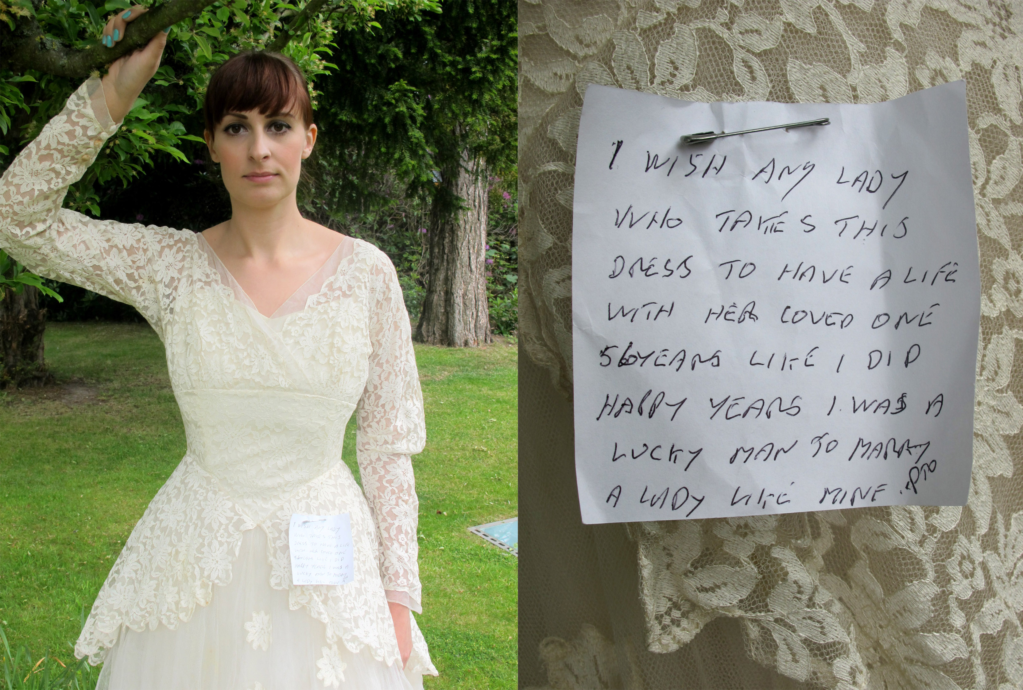 Wedding Dress With Note : Note left on wedding dress donated to charity by pensioner