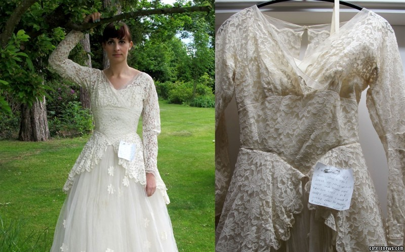 A pensioner is said to have donated his wife's 1950s vintage wedding dress