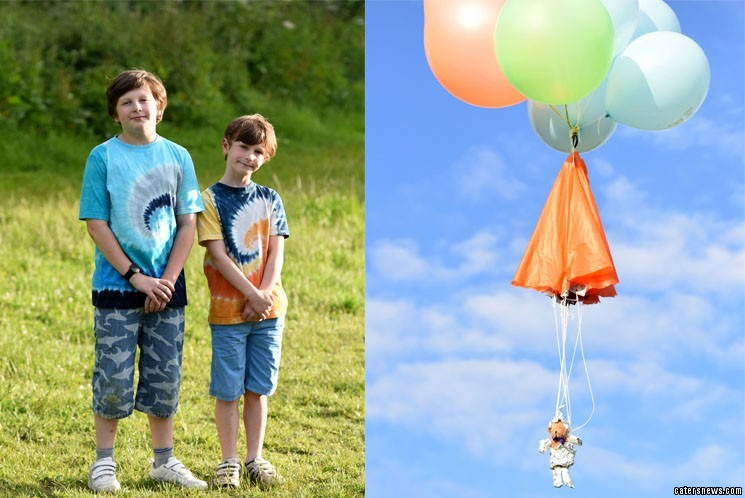 The teddy bear was strapped to a large helium balloon and fired up to space at 5 metres per second