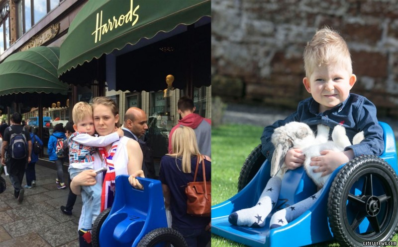 Shelly Wall has hit out at Harrods after staff stopped her paralysed boy from using his wheelchair inside the shop