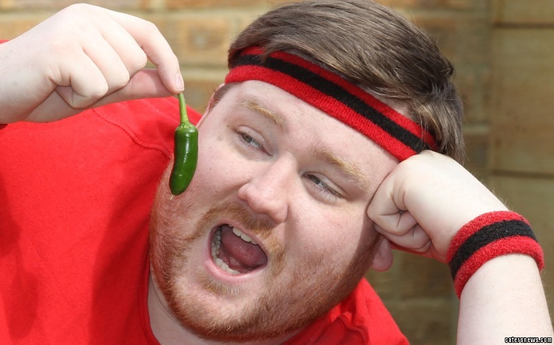 Jon eating an extremely hot pepper
