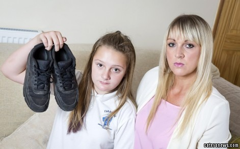 Katie (with the trainers) and her mum Antonia