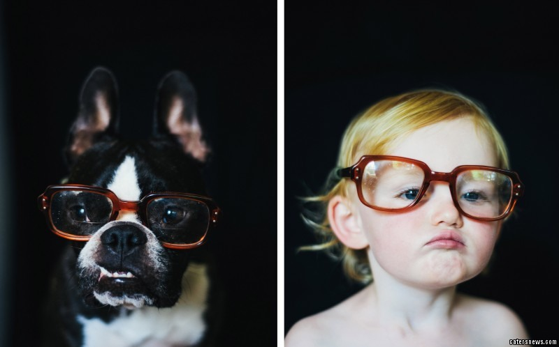 PICTURED: Ella, 2, and Charles the dog in glasses
