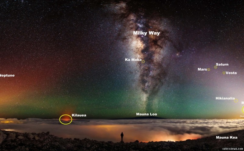 PIC BY SHANE BLACK / CATERS NEWS - (PICTURED: Mauna Kea, Hawaii, USA.) A photographer has snapped what could be the best selfie ever - capturing himself in front of an active volcano, the moon AND Milky Way. Shane Blacks stunning image sees him staring down into the molten pit below, a layer of fog coating the horizon and the Milky Way illuminating the night sky. In the distance, the light from another volcano, Kilauea, can be seen breaking through the mist, while the moon lights up the opposite corner of the sky. The phenomenal shot was taken near the summit of Mauna Kea, on the Big Island of Hawaii, USA, nearly 14,000ft high. SEE CATERS COPY