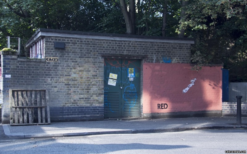Artist Mobstr began the exchange when he painted the word 'Red' on a section of a brick wall