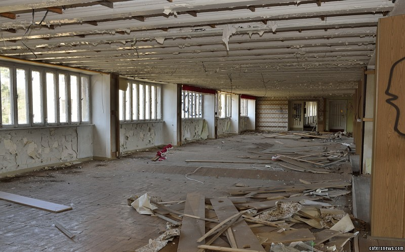 The deserted building prior to construction