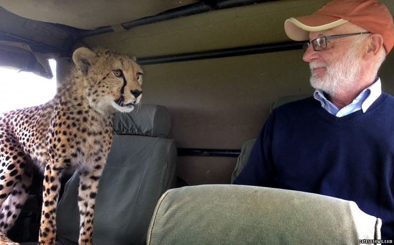 Irish tourist Mickey McCaldin gets a shock off a cheetah