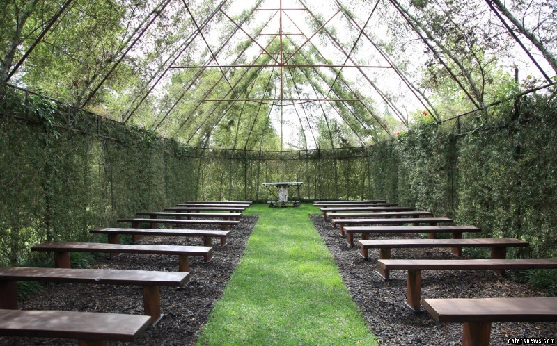 Inside the church made of trees