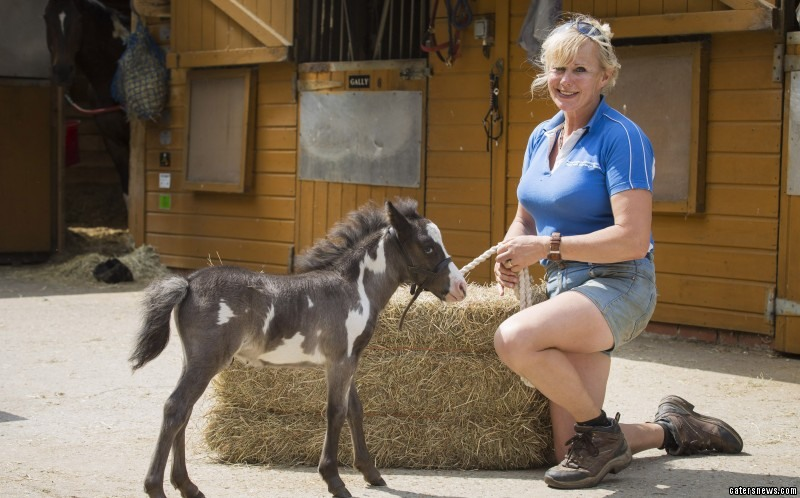 PIC FROM MIKEY JONES / CATERS NEWS - (PICTURED: Jen with microdave the horse)