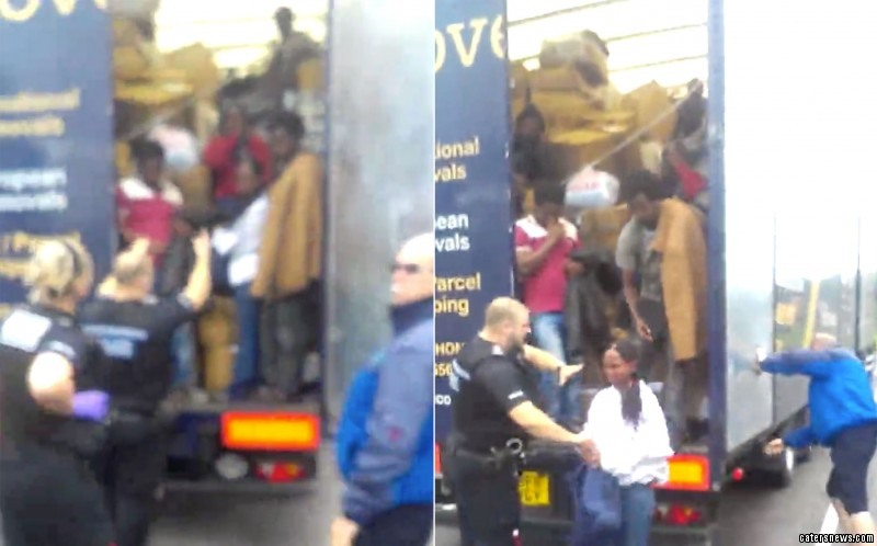 The shocking video shows 13 illegal immigrants being removed from a lorry