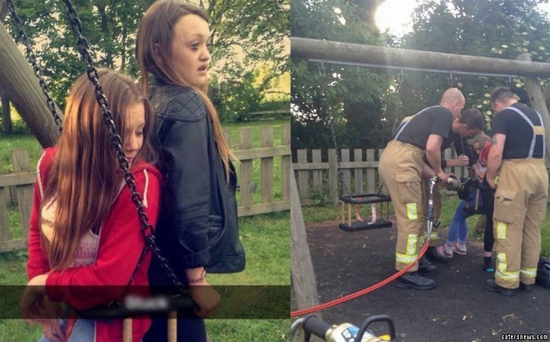 Rebecca Dobinson and Ellie Naylor thought it might be funny to climb into a baby swing back-to-back