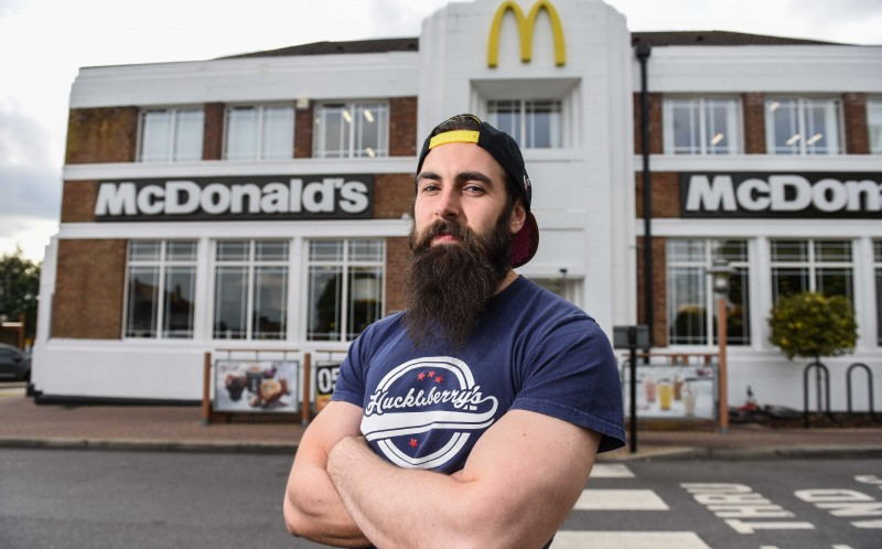 Adam Moran outside the Oakwood store that supplied the Big Macs for his world record