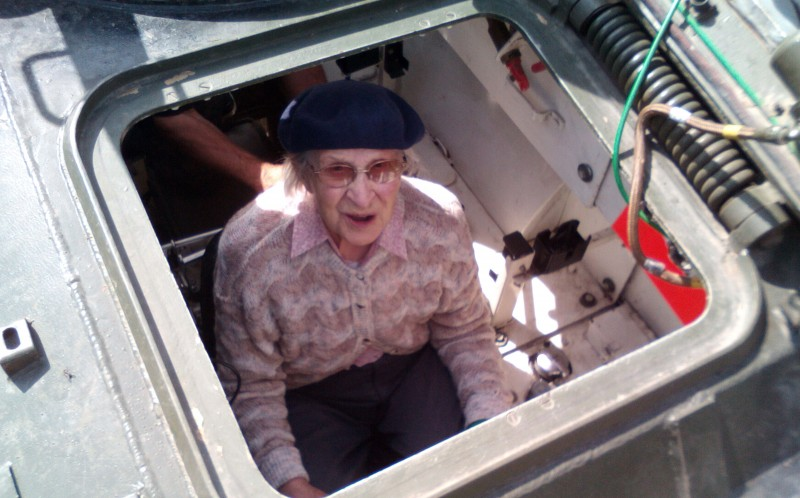 Hilda Jackson fulfilled a life long ambition of driving a tank on her 101st birthday