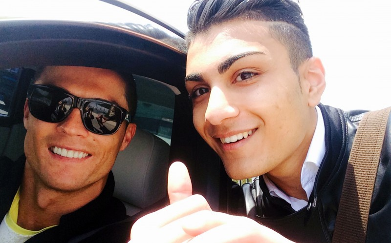 Shanta (R) pictured with his idol Cristiano Ronaldo (L)