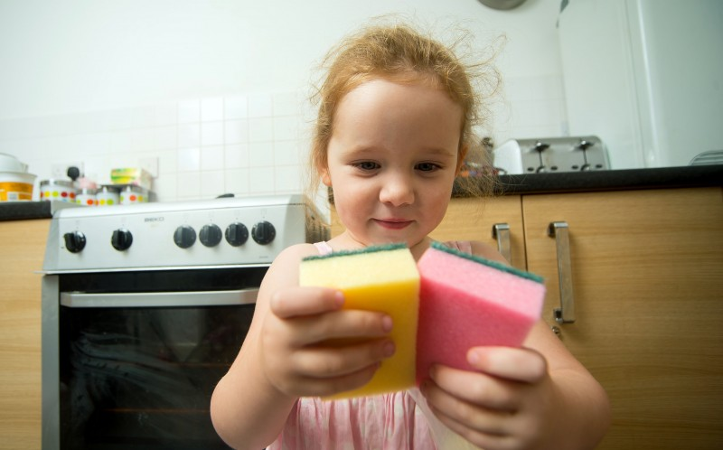 Lily holding sponges
