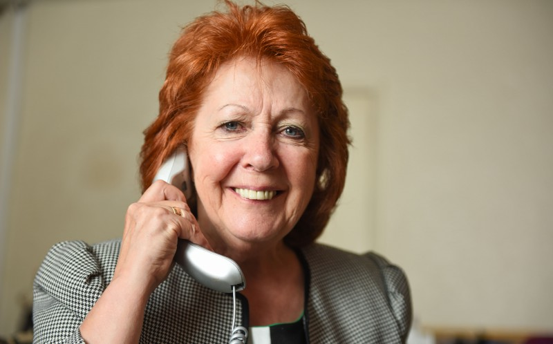 CILLA BLACK LOOKALIKE TRIBUTE ACT BRENDA COLLINS POSES WITH A PHONE AS CILLA BLACK DID ON SURPRISE SURPRISE