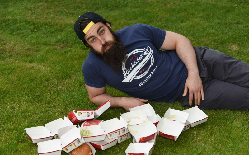 Adam Moran having finished off 17 Big Macs, he never wants to eat a big mac again