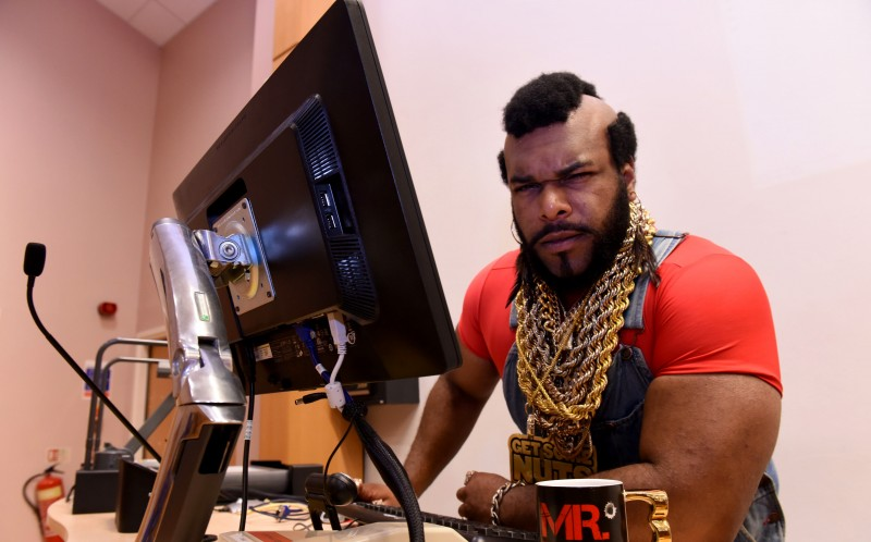John Lashley dressed as Mr. T in his lecture theatre