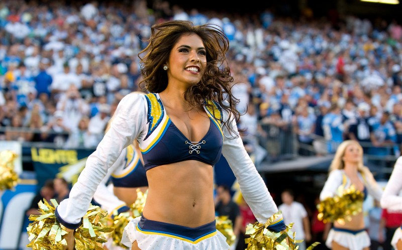 Marlina Mareno cheerleading for San Diego Chargers