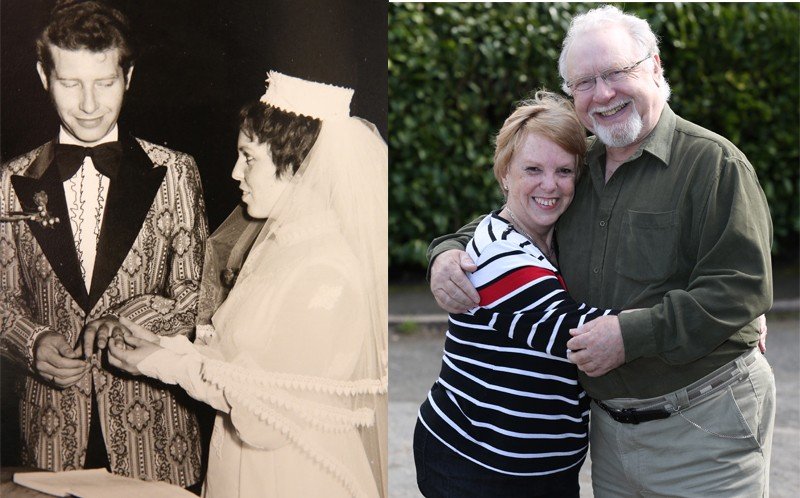 Maria and David at their wedding (L) and now, still going strong (R)