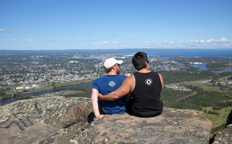Damien Gilbert and Jeff Carlson enjoy the views ontop of Mount McKay