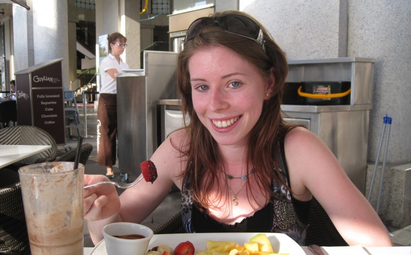 Siobhan Hall eating Chocolate at Guylian Restaurant before she became intolerant to dairy