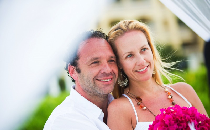 Gustavo Bogomolni, 45 and Fanny Perez, 39 at their first wedding on the Turks & Caicos islands in May 2013