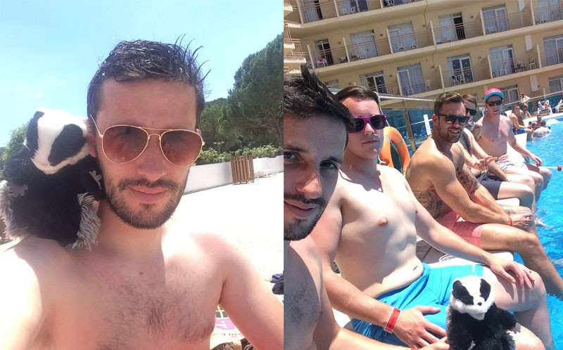 Will and Seth in Barcelona (L) and the two of them in Ibiza
