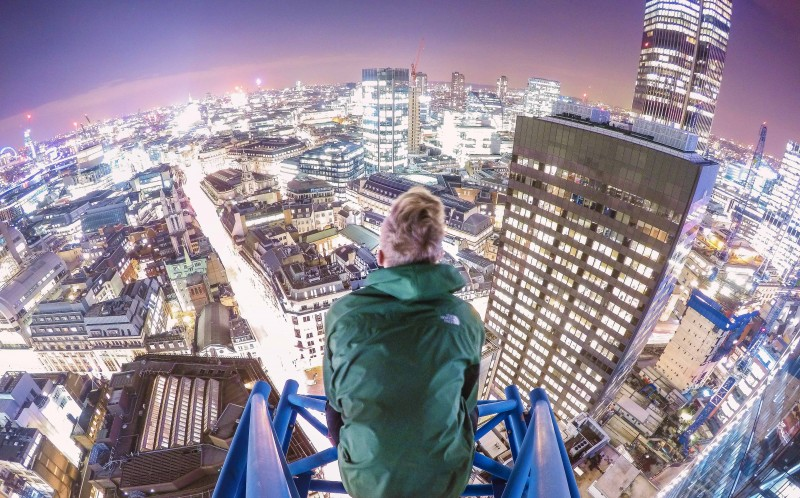 Jacob looking out to the London skyline