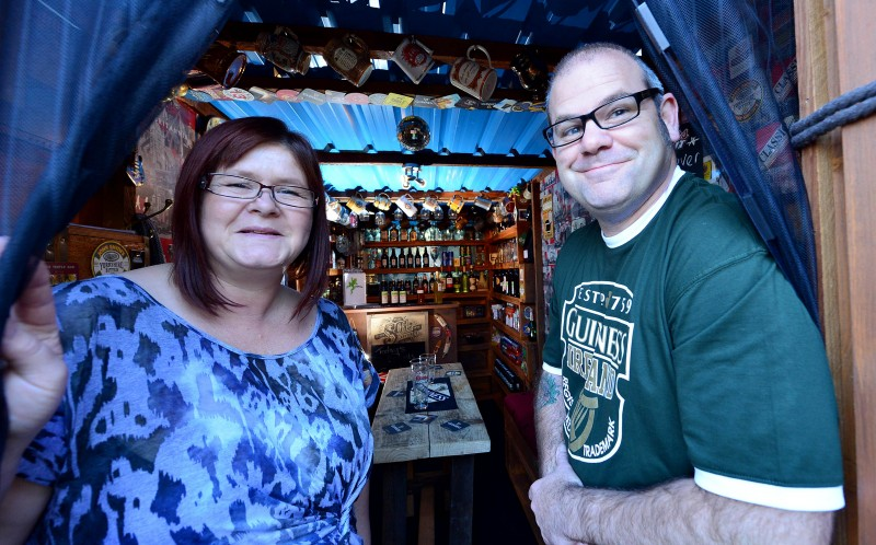 Samantha and Kelvin in the entrance to their pub
