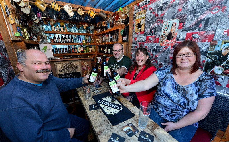 L to R: Robert, Kelvin, Helen and Samantha enjoy their home brewed beer in the pub