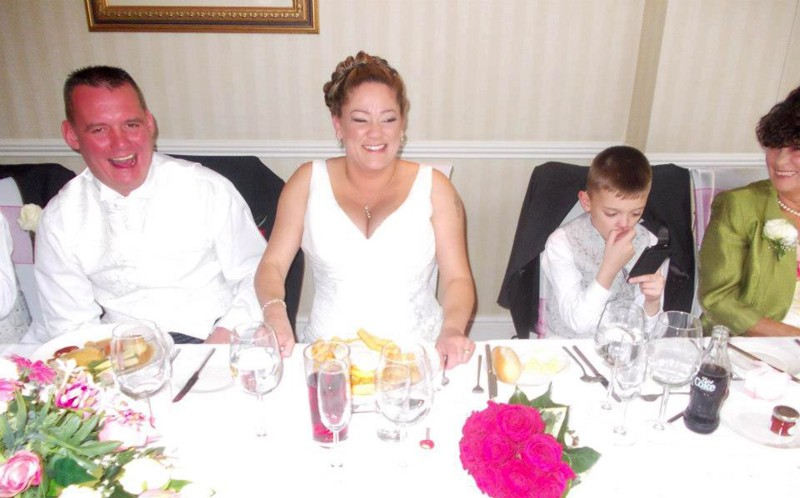 Katey Loughran, 37 on her wedding day eating eggs and chips