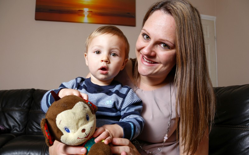 Amber Worth with Miracle baby Luca. Amber was told by doctors that she would never be able to give birth