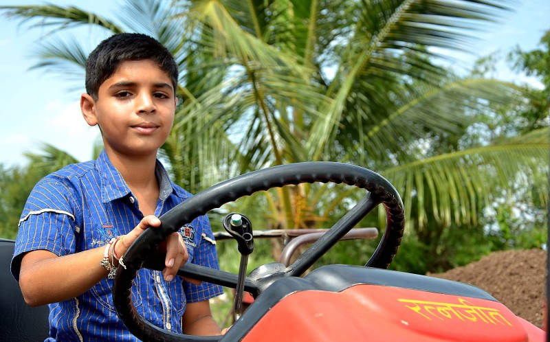 Ratanjith Patilon his tractor
