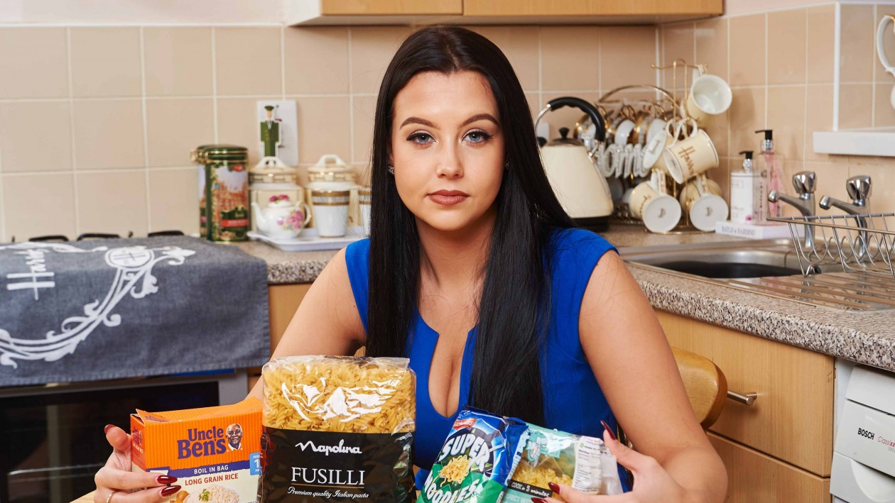 Model Tayla-Jayne pictured with the carbs she cant eat