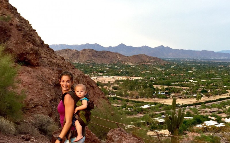 Kristy Ardo, 24 hiking with 14-month-old Tucker