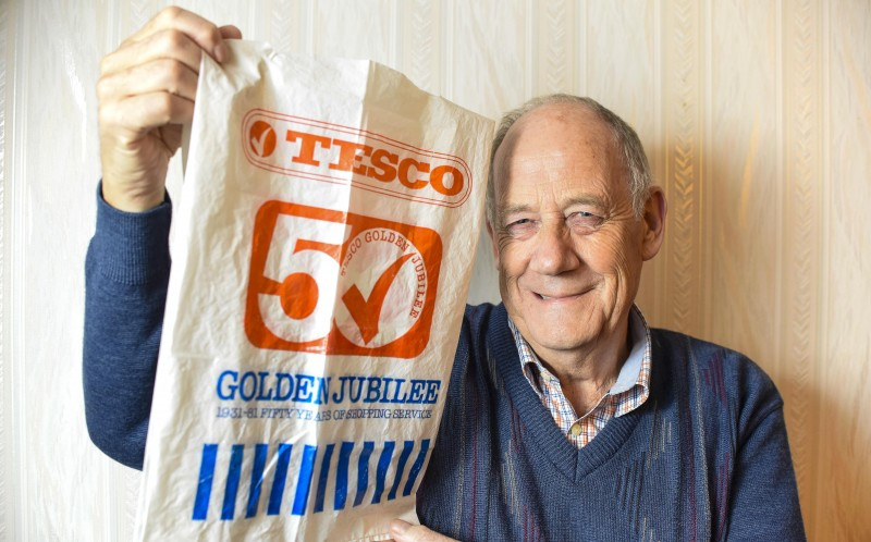 MARTIN MCASKIE WITH HIS TESCO BAG FOR LIFE FROM 1981