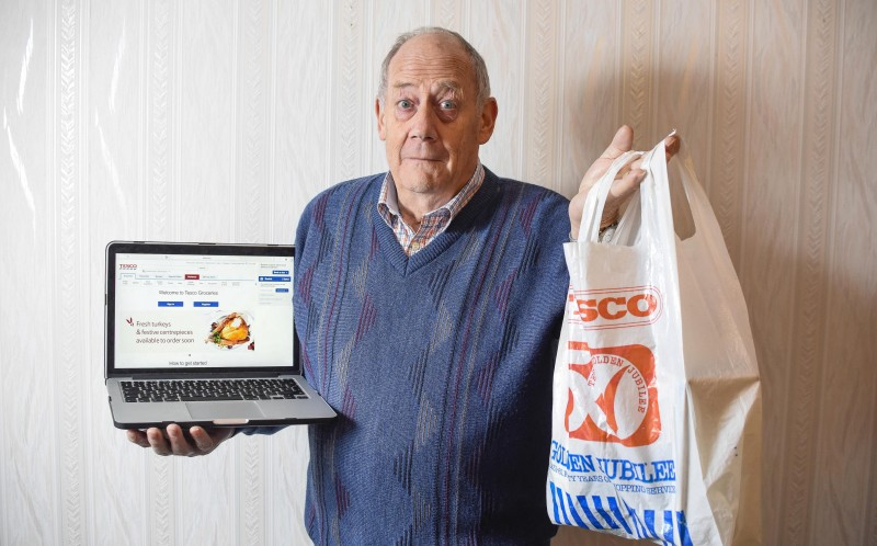 MARTIN MCASKIE CONTRASTS HIS TESCO BAG FROM 1981 TO THE MODERN TESCO WHERE YOU CAN PURCHASE GROCERIES ONLINE